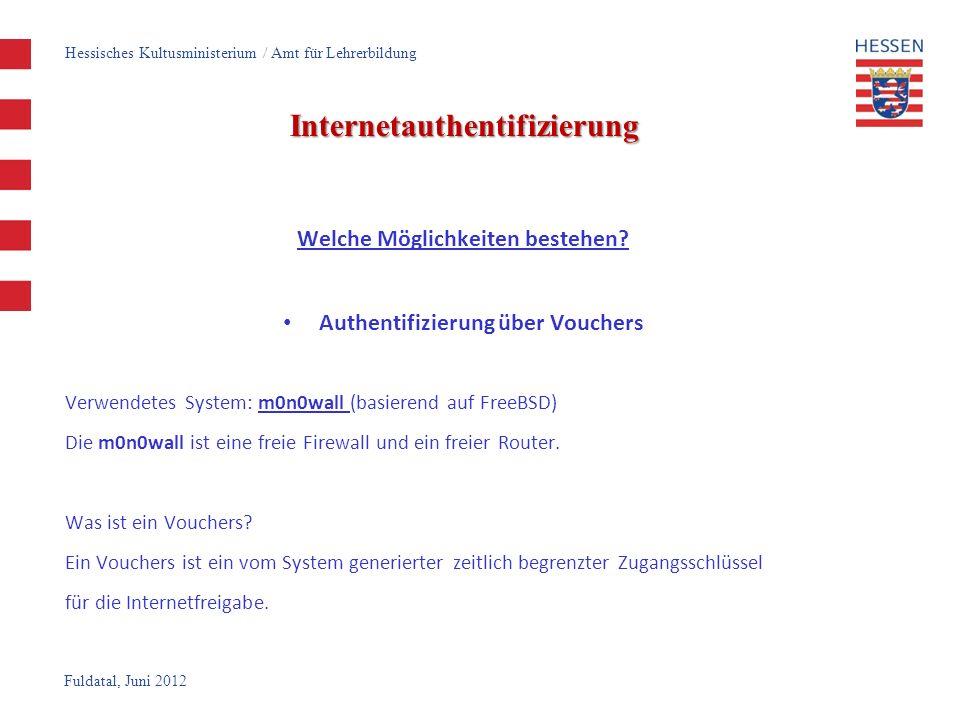 Fuldatal, Juni 2012 Internetauthentifizierung Welche Möglichkeiten bestehen? Authentifizierung über Vouchers Verwendetes System: m0n0wall (basierend a