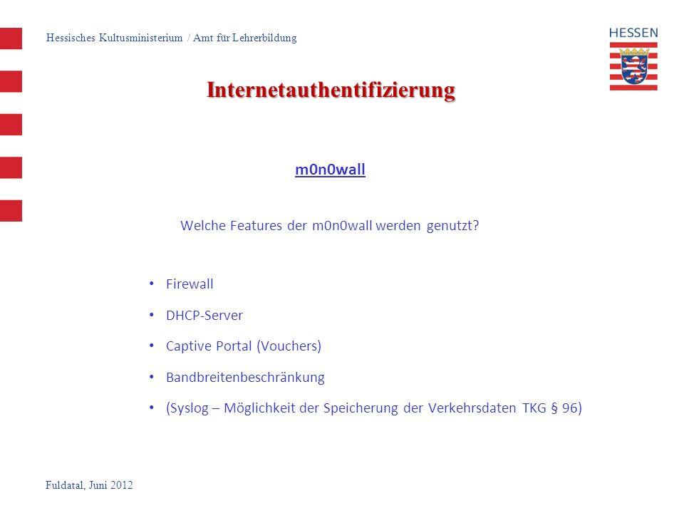Fuldatal, Juni 2012 Internetauthentifizierung Funktionsweise der m0n0wall Installation auf Standard-PC (minimale Systemvoraussetzungen) auf Festplatte beim Bootvorgang ausgelesene Konfiguration der m0n0wall, wird in einer einzigen XML-Datei gespeichert m0n0wall unterstützt jede Hardware, die auch von FreeBSD in der jeweiligen Version unterstützt wird Die eigentliche Konfiguration – abgesehen von der einmaligen Konfiguration der IP-Adresse und Netzwerkkarte – findet in einem sehr übersichtlichen Webinterface statt, weshalb keinerlei Unix- oder FreeBSD-Kenntnisse erforderlich sind.