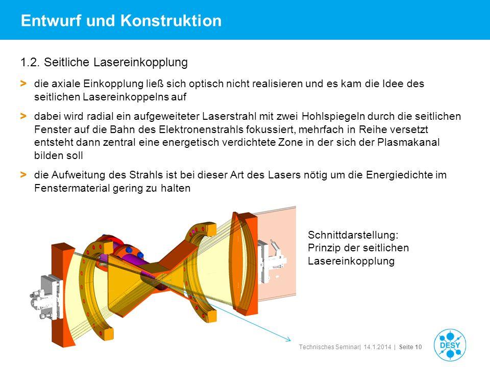 Technisches Seminar| 14.1.2014 | Seite 10 Entwurf und Konstruktion 1.2. Seitliche Lasereinkopplung > die axiale Einkopplung ließ sich optisch nicht re