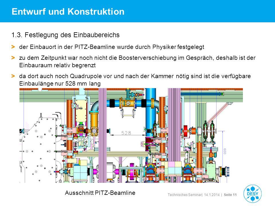 Technisches Seminar| 14.1.2014 | Seite 11 Entwurf und Konstruktion 1.3. Festlegung des Einbaubereichs > der Einbauort in der PITZ-Beamline wurde durch
