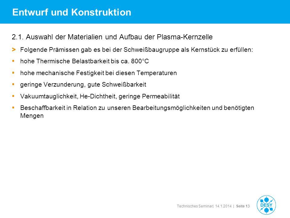 Technisches Seminar| 14.1.2014 | Seite 13 Entwurf und Konstruktion 2.1. Auswahl der Materialien und Aufbau der Plasma-Kernzelle > Folgende Prämissen g