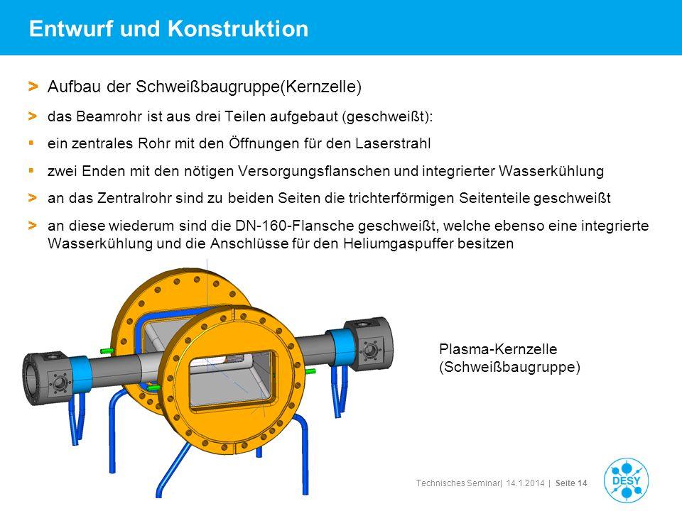 Technisches Seminar| 14.1.2014 | Seite 14 Entwurf und Konstruktion > Aufbau der Schweißbaugruppe(Kernzelle) > das Beamrohr ist aus drei Teilen aufgeba