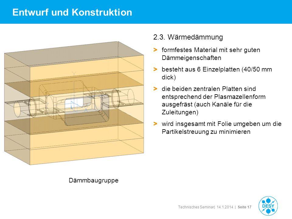Technisches Seminar| 14.1.2014 | Seite 17 Entwurf und Konstruktion 2.3. Wärmedämmung > formfestes Material mit sehr guten Dämmeigenschaften > besteht