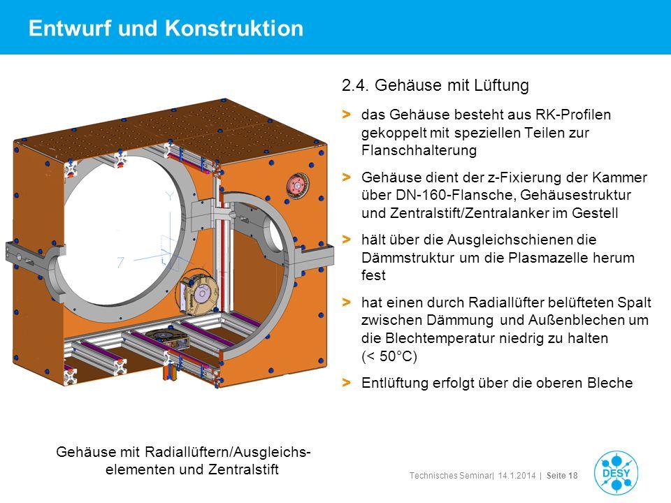 Technisches Seminar| 14.1.2014 | Seite 18 Entwurf und Konstruktion 2.4. Gehäuse mit Lüftung > das Gehäuse besteht aus RK-Profilen gekoppelt mit spezie