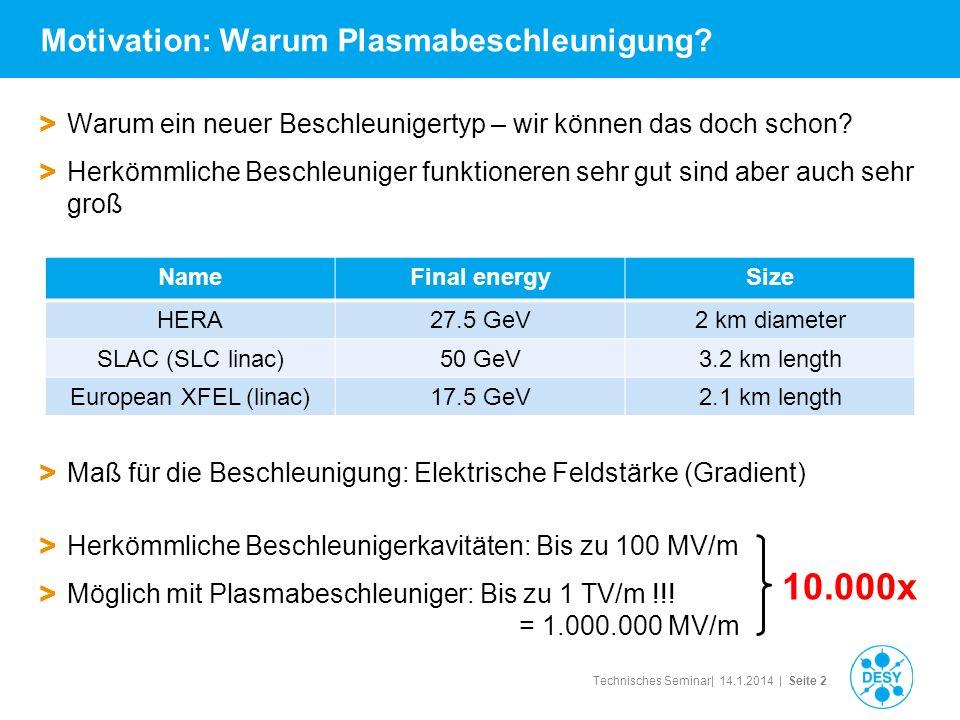 Technisches Seminar| 14.1.2014 | Seite 2 Motivation: Warum Plasmabeschleunigung? > Warum ein neuer Beschleunigertyp – wir können das doch schon? > Her