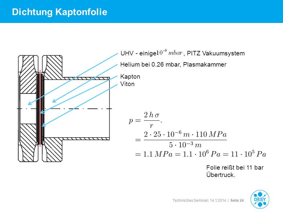 Technisches Seminar| 14.1.2014 | Seite 24 Dichtung Kaptonfolie Folie reißt bei 11 bar Übertruck. Helium bei 0.26 mbar, Plasmakammer UHV - einige, PITZ