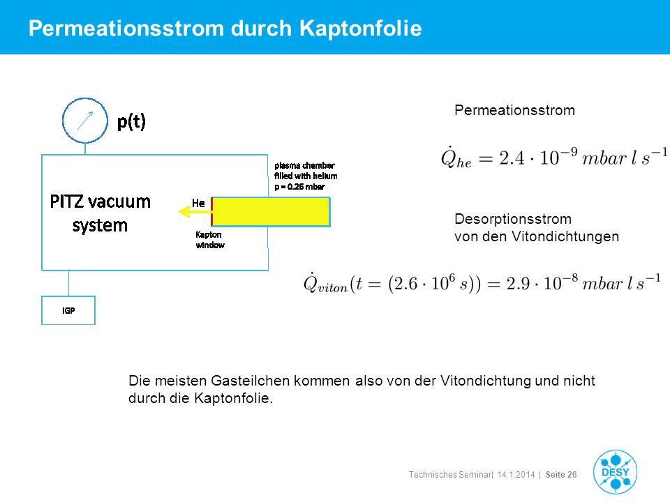 Technisches Seminar| 14.1.2014 | Seite 26 Permeationsstrom durch Kaptonfolie Desorptionsstrom von den Vitondichtungen Permeationsstrom Die meisten Gas
