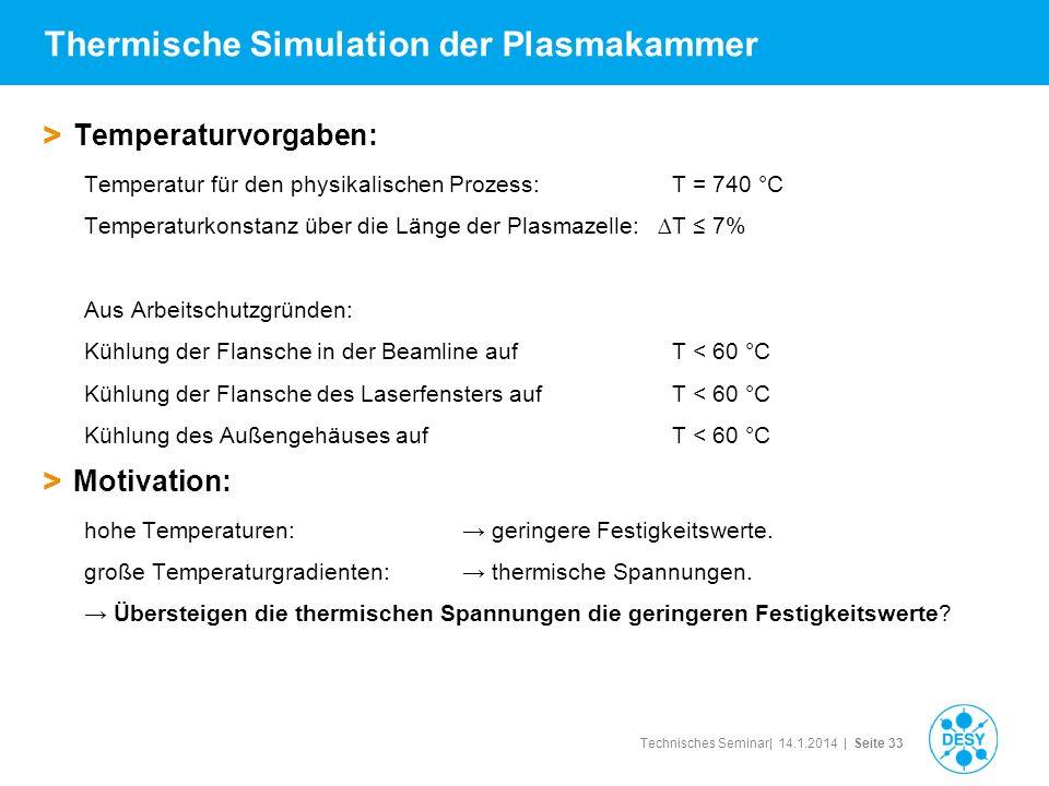 Technisches Seminar| 14.1.2014 | Seite 33 Thermische Simulation der Plasmakammer > Temperaturvorgaben: Temperatur für den physikalischen Prozess: T =