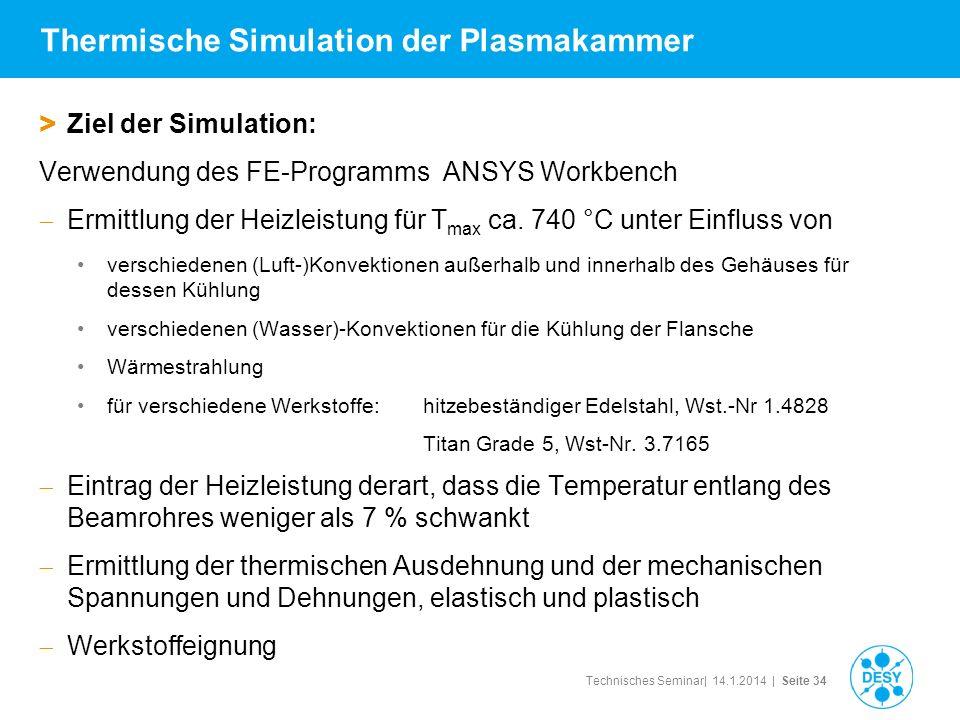 Technisches Seminar| 14.1.2014 | Seite 34 Thermische Simulation der Plasmakammer > Ziel der Simulation: Verwendung des FE-Programms ANSYS Workbench Er