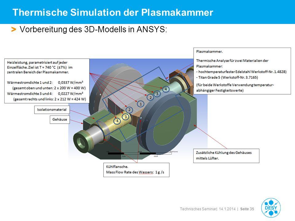 Technisches Seminar| 14.1.2014 | Seite 35 > Vorbereitung des 3D-Modells in ANSYS: Thermische Simulation der Plasmakammer
