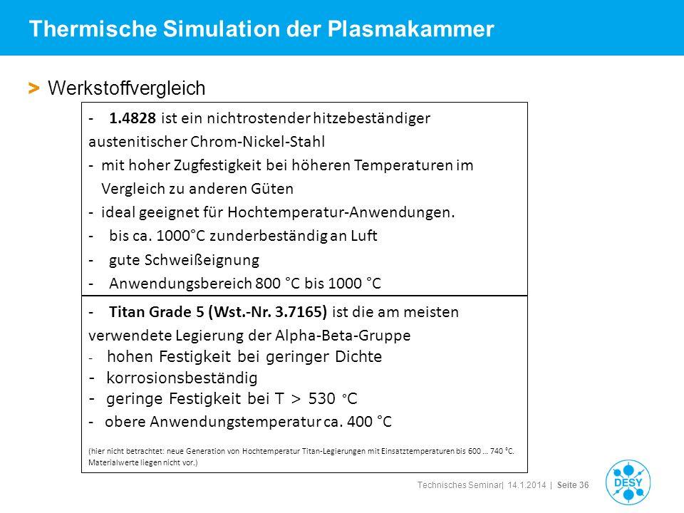 Technisches Seminar| 14.1.2014 | Seite 36 Thermische Simulation der Plasmakammer > Werkstoffvergleich - 1.4828 ist ein nichtrostender hitzebeständiger