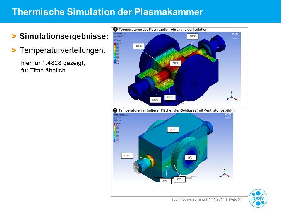Technisches Seminar| 14.1.2014 | Seite 37 Thermische Simulation der Plasmakammer > Simulationsergebnisse: > Temperaturverteilungen: hier für 1.4828 ge