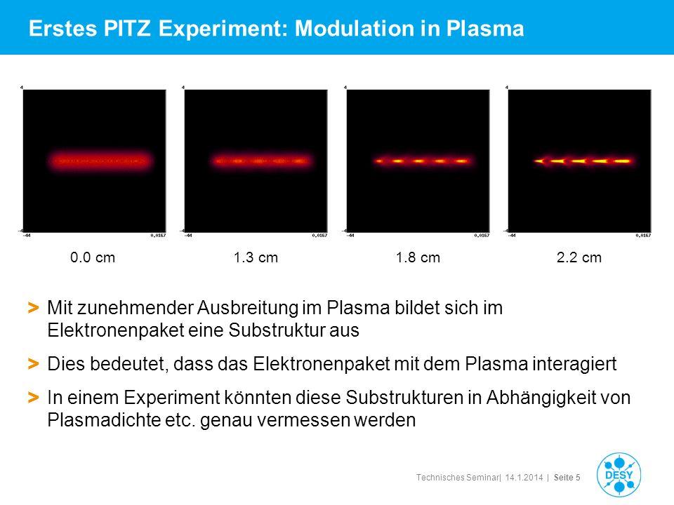Technisches Seminar| 14.1.2014 | Seite 5 Erstes PITZ Experiment: Modulation in Plasma > Mit zunehmender Ausbreitung im Plasma bildet sich im Elektrone