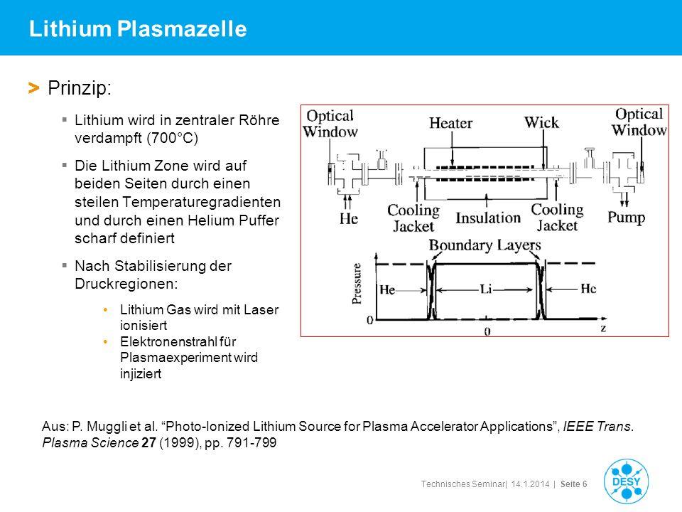 Technisches Seminar| 14.1.2014 | Seite 6 Lithium Plasmazelle > Prinzip: Lithium wird in zentraler Röhre verdampft (700°C) Die Lithium Zone wird auf be