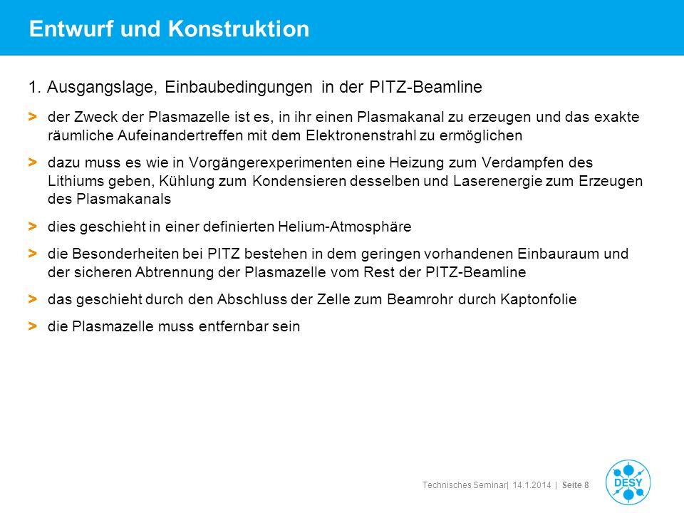 Technisches Seminar| 14.1.2014 | Seite 8 Entwurf und Konstruktion 1. Ausgangslage, Einbaubedingungen in der PITZ-Beamline > der Zweck der Plasmazelle