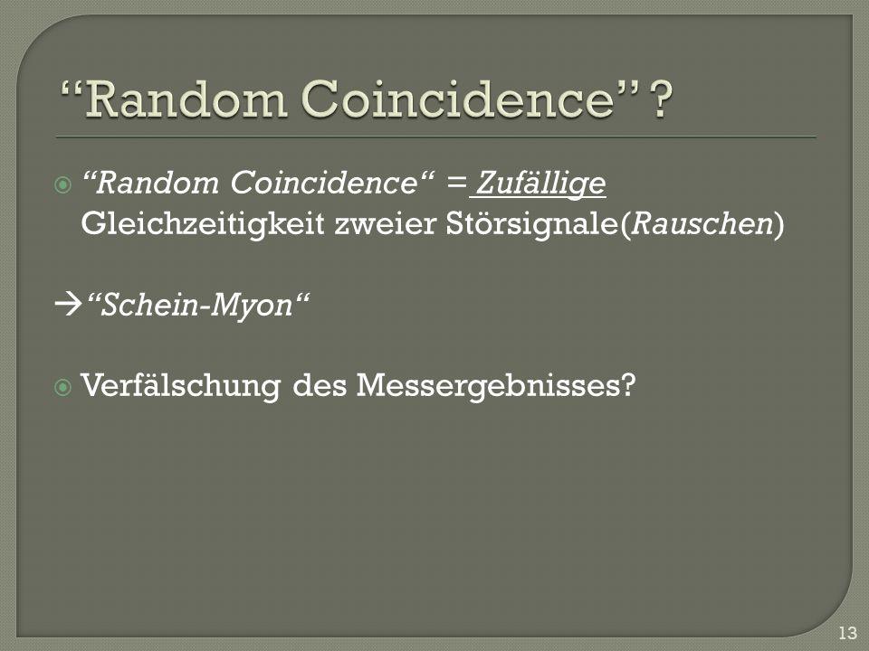 Random Coincidence = Zufällige Gleichzeitigkeit zweier Störsignale(Rauschen) Schein-Myon Verfälschung des Messergebnisses? 13