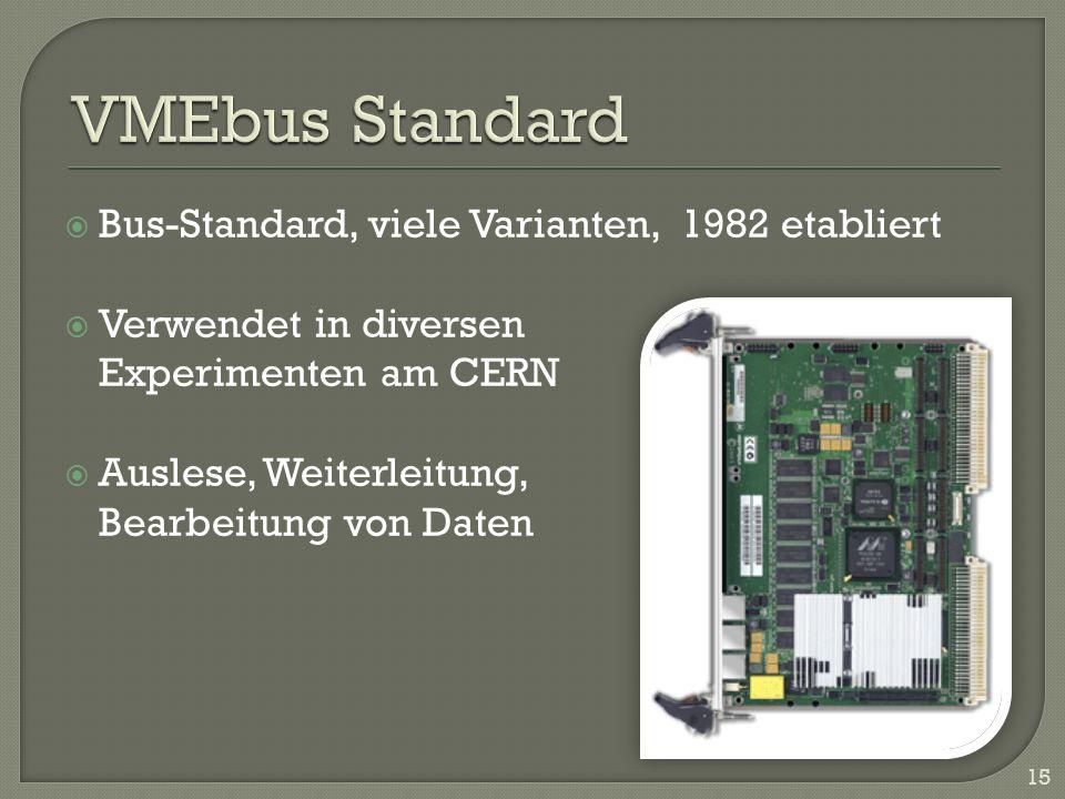 Bus-Standard, viele Varianten, 1982 etabliert Verwendet in diversen Experimenten am CERN Auslese, Weiterleitung, Bearbeitung von Daten 15