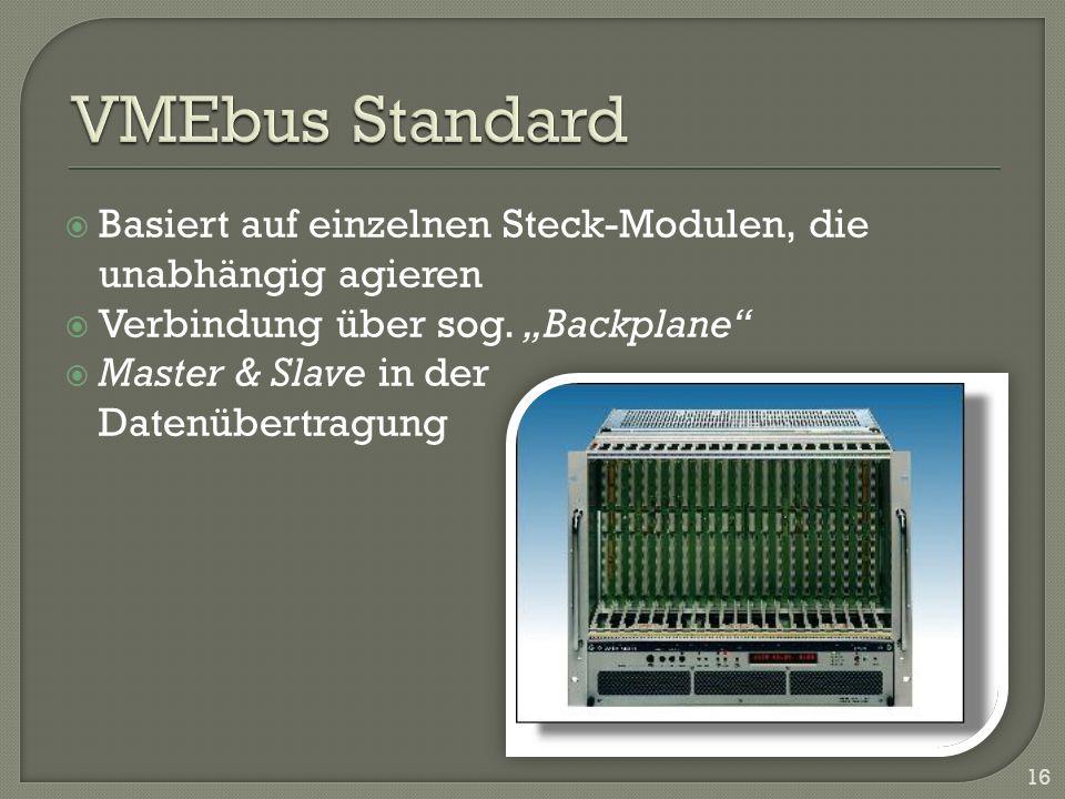 Basiert auf einzelnen Steck-Modulen, die unabhängig agieren Verbindung über sog. Backplane Master & Slave in der Datenübertragung 16