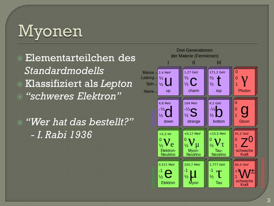 Elementarteilchen des Standardmodells Klassifiziert als Lepton schweres Elektron Wer hat das bestellt? - I. Rabi 1936 3