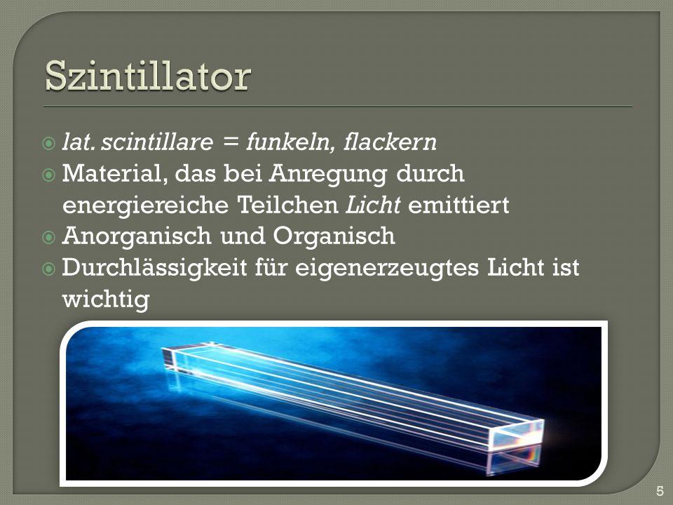 lat. scintillare = funkeln, flackern Material, das bei Anregung durch energiereiche Teilchen Licht emittiert Anorganisch und Organisch Durchlässigkeit