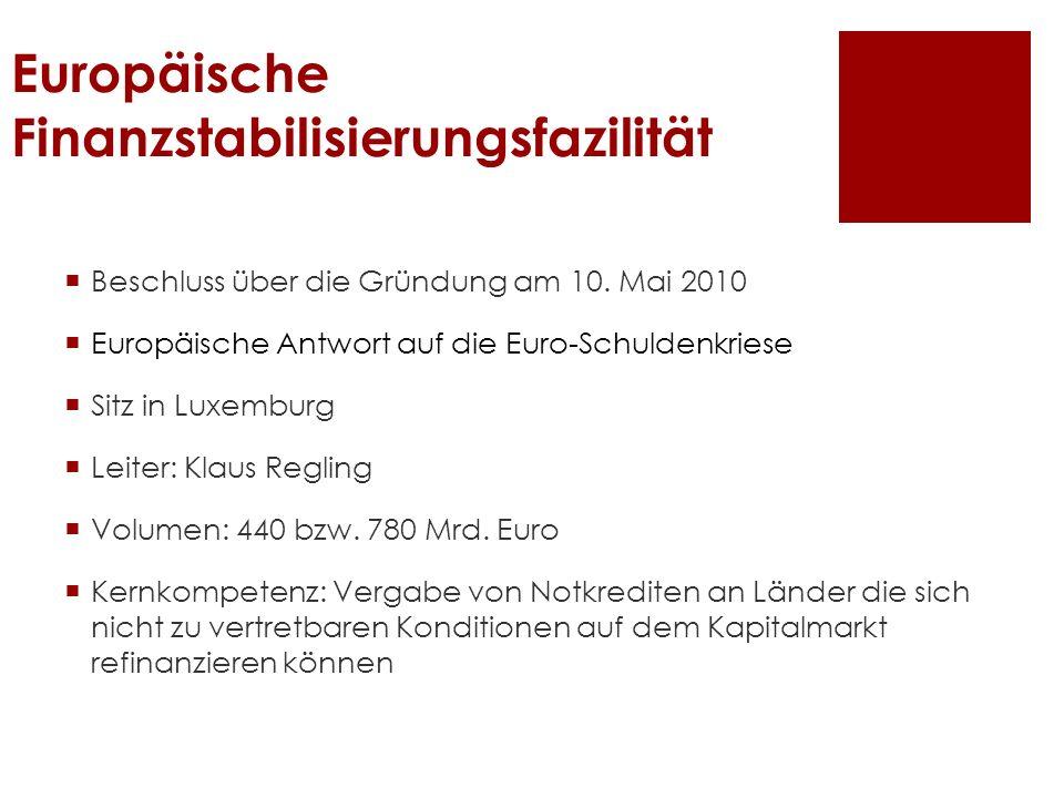Europäische Finanzstabilisierungsfazilität Beschluss über die Gründung am 10. Mai 2010 Europäische Antwort auf die Euro-Schuldenkriese Sitz in Luxembu
