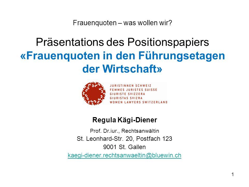 1 Frauenquoten – was wollen wir? Präsentations des Positionspapiers «Frauenquoten in den Führungsetagen der Wirtschaft» Regula Kägi-Diener Prof. Dr.iu