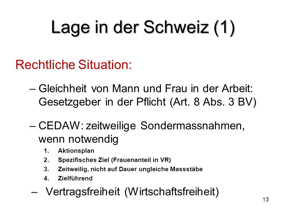 Lage in der Schweiz (1) Rechtliche Situation: –Gleichheit von Mann und Frau in der Arbeit: Gesetzgeber in der Pflicht (Art. 8 Abs. 3 BV) –CEDAW: zeitw