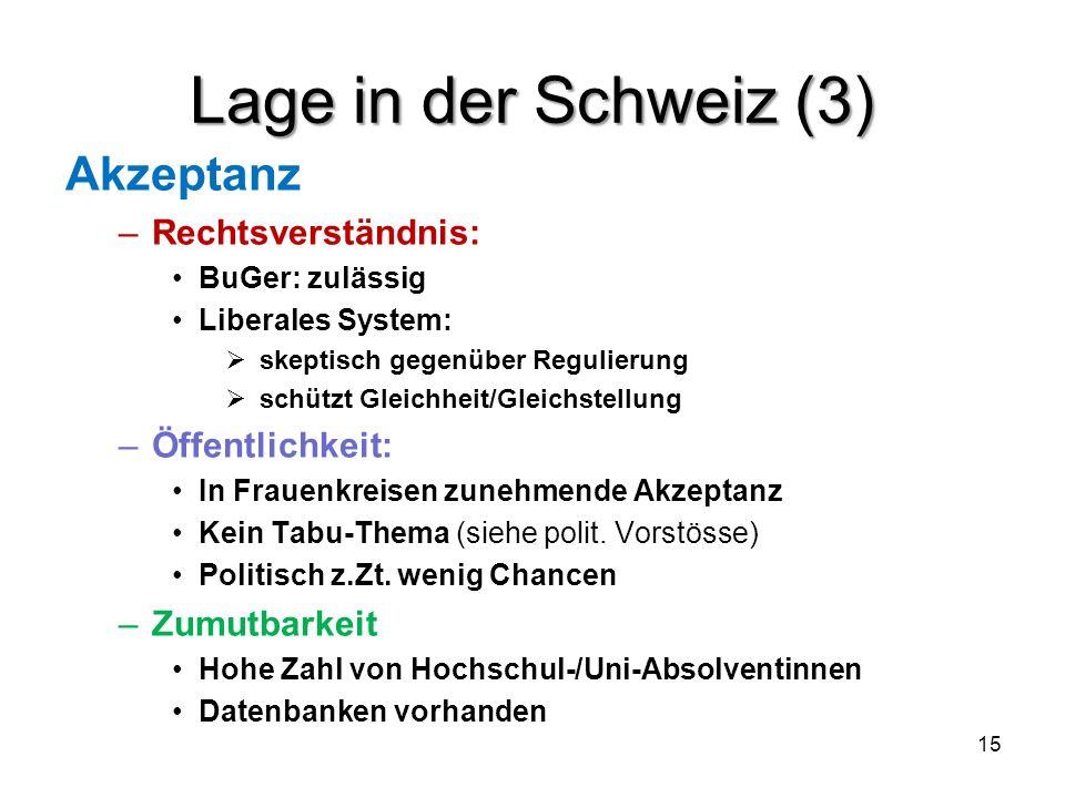 Lage in der Schweiz (3) Akzeptanz –Rechtsverständnis: BuGer: zulässig Liberales System: skeptisch gegenüber Regulierung schützt Gleichheit/Gleichstell