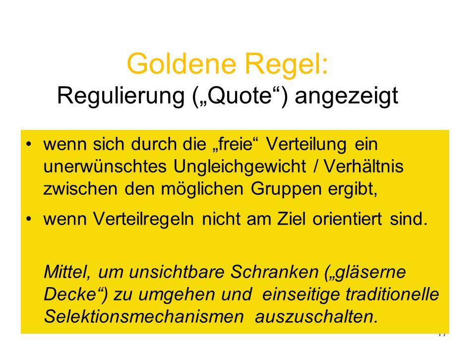 17 Goldene Regel: Regulierung (Quote) angezeigt wenn sich durch die freie Verteilung ein unerwünschtes Ungleichgewicht / Verhältnis zwischen den mögli