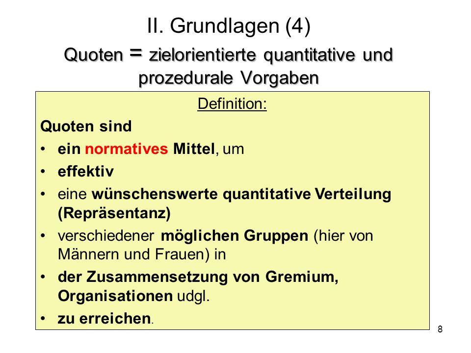 8 Quoten = zielorientierte quantitative und prozedurale Vorgaben II. Grundlagen (4) Quoten = zielorientierte quantitative und prozedurale Vorgaben Def