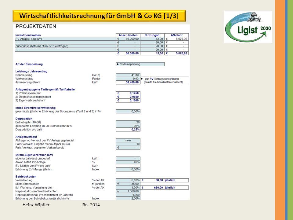 Heinz Wipfler Jän. 2014 Wirtschaftlichkeitsrechnung für GmbH & Co KG [1/3]
