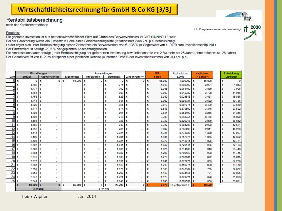Heinz Wipfler Jän. 2014 Wirtschaftlichkeitsrechnung für GmbH & Co KG [3/3]