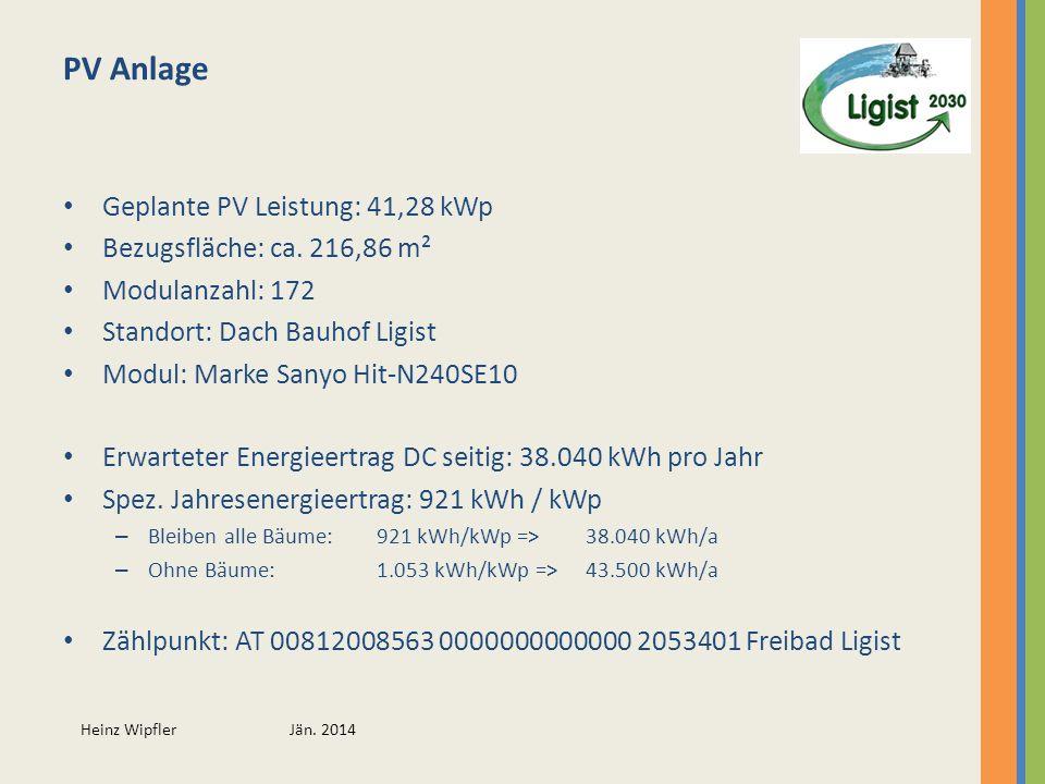 Heinz Wipfler Jän. 2014 PV Anlage Geplante PV Leistung: 41,28 kWp Bezugsfläche: ca. 216,86 m² Modulanzahl: 172 Standort: Dach Bauhof Ligist Modul: Mar