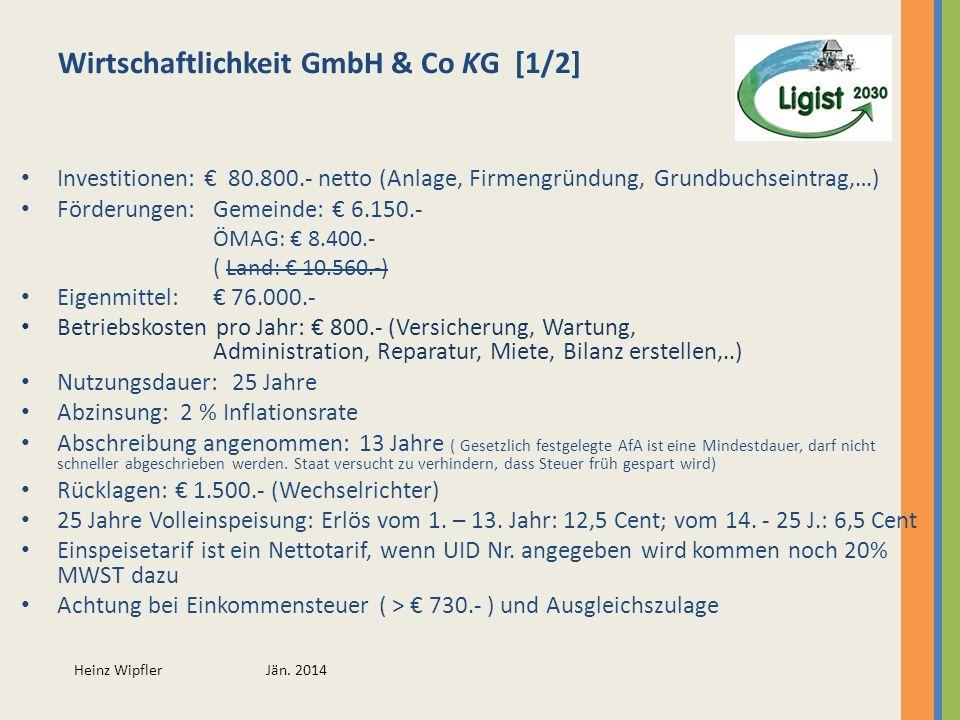 Heinz Wipfler Jän. 2014 Wirtschaftlichkeit GmbH & Co KG [1/2] Investitionen: 80.800.- netto (Anlage, Firmengründung, Grundbuchseintrag,…) Förderungen: