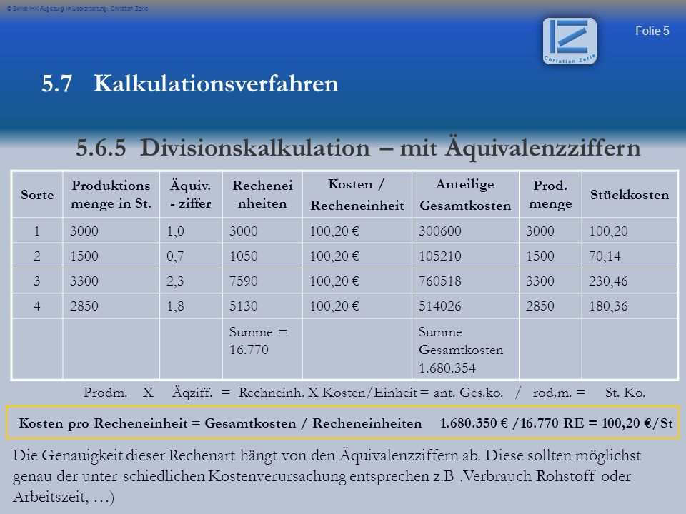 Folie 6 © Skript IHK Augsburg in Überarbeitung Christian Zerle Übung Prüfung 2006 Aufgabe 6 5.7 Kalkulationsverfahren 5.6.5 Divisionskalkulation – mit Äquivalenzziffern