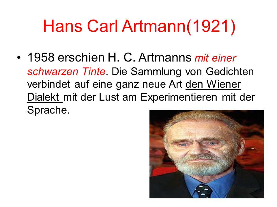 Gerhard Rühm (1930) Er verkürzte die Sprache auf die das Verständnis wichtigsten Wörter. stille irdengwer sucht mich stille wer sucht mich stille such
