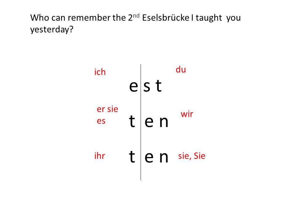 e s t t e n ich du er sie es wir ihrsie, Sie Who can remember the 2 nd Eselsbrücke I taught you yesterday?