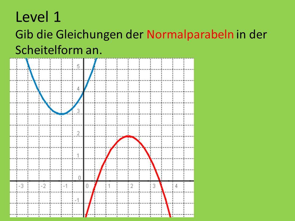 Level 1 Gib die Gleichungen der Normalparabeln in der Scheitelform an.