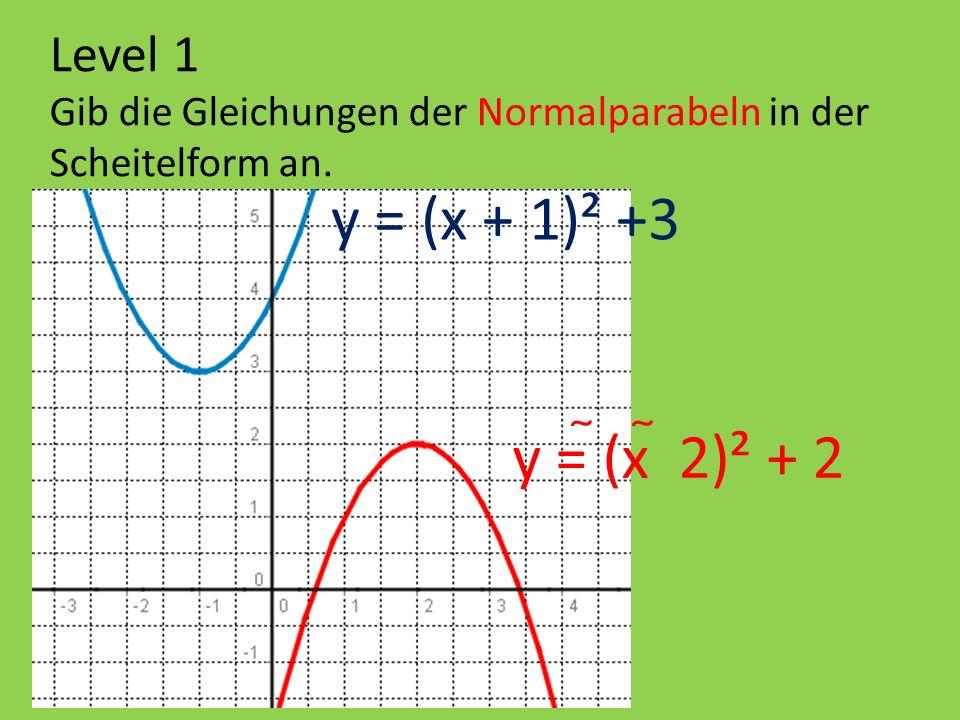 Level 1 Gib die Gleichungen der Normalparabeln in der Scheitelform an. y = (x + 1)² +3 y = (x 2)² + 2