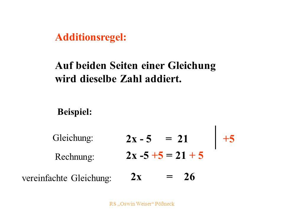 RS Oswin Weiser Pößneck Additionsregel: Auf beiden Seiten einer Gleichung wird dieselbe Zahl addiert.
