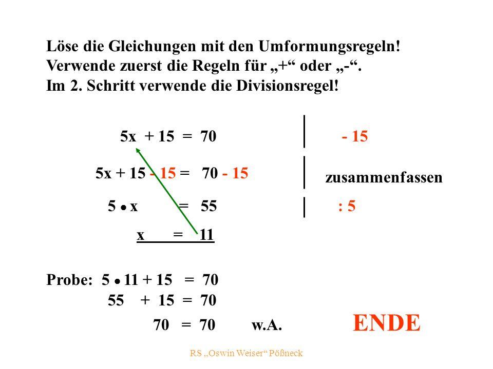 RS Oswin Weiser Pößneck Löse die Gleichungen mit den Umformungsregeln.