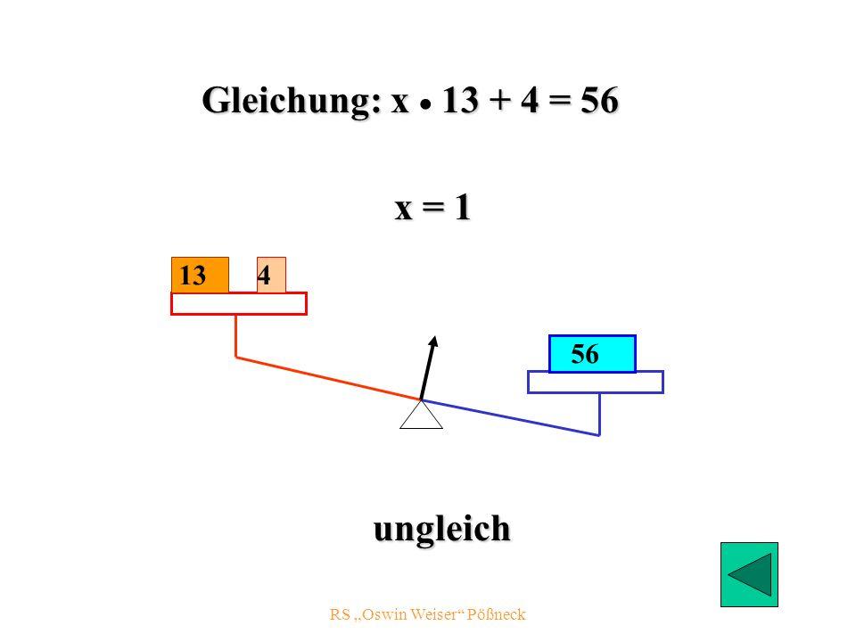 RS Oswin Weiser Pößneck Gleichung: x 13 + 4 = 56 13 56 4 x = 1 ungleich