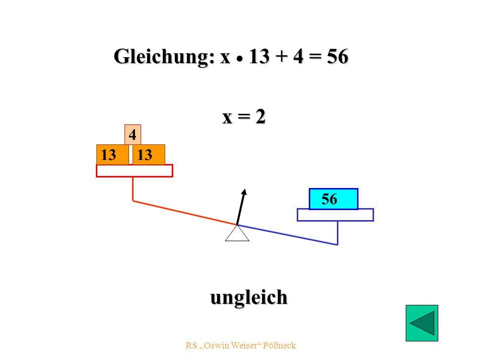 RS Oswin Weiser Pößneck 13 56 4 x = 2 ungleich 13 Gleichung: x 13 + 4 = 56