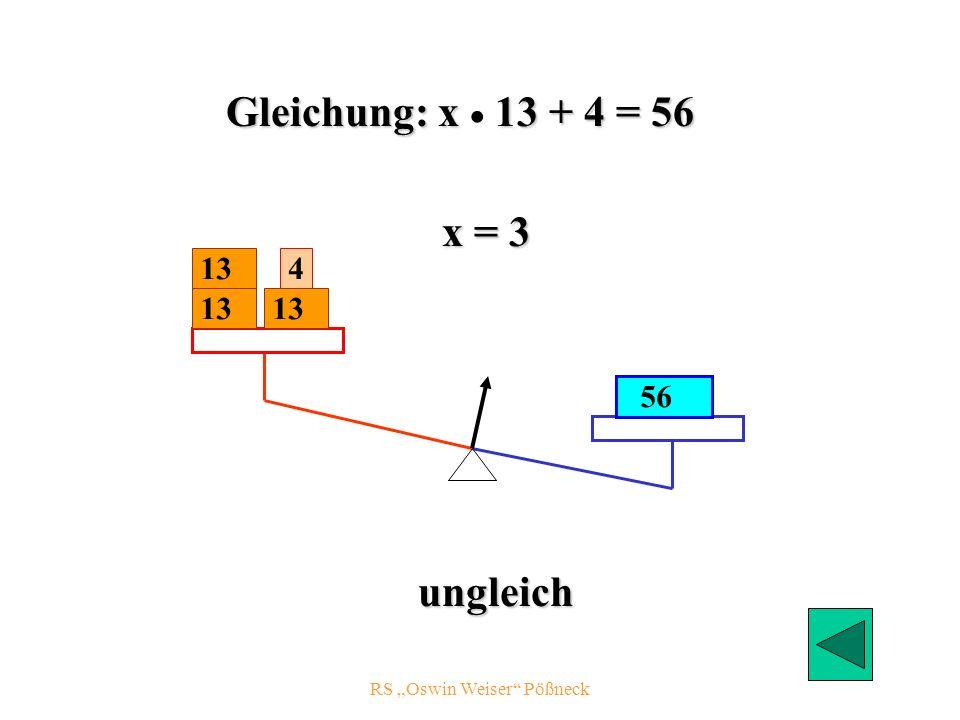 RS Oswin Weiser Pößneck 13 56 4 x = 3 ungleich 13 Gleichung: x 13 + 4 = 56