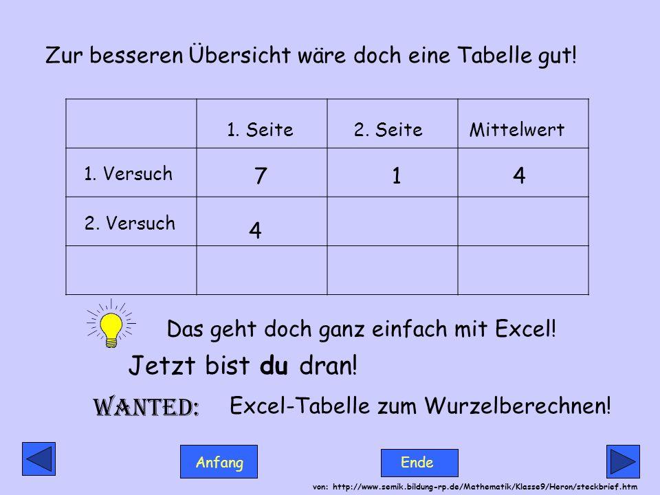 Anfang Ende von: http://www.semik.bildung-rp.de/Mathematik/Klasse9/Heron/steckbrief.htm Zur besseren Übersicht wäre doch eine Tabelle gut! 1. Seite2.