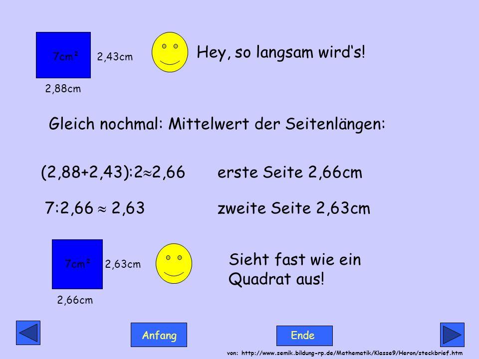 Anfang Ende von: http://www.semik.bildung-rp.de/Mathematik/Klasse9/Heron/steckbrief.htm Hey, so langsam wirds! Gleich nochmal: Mittelwert der Seitenlä