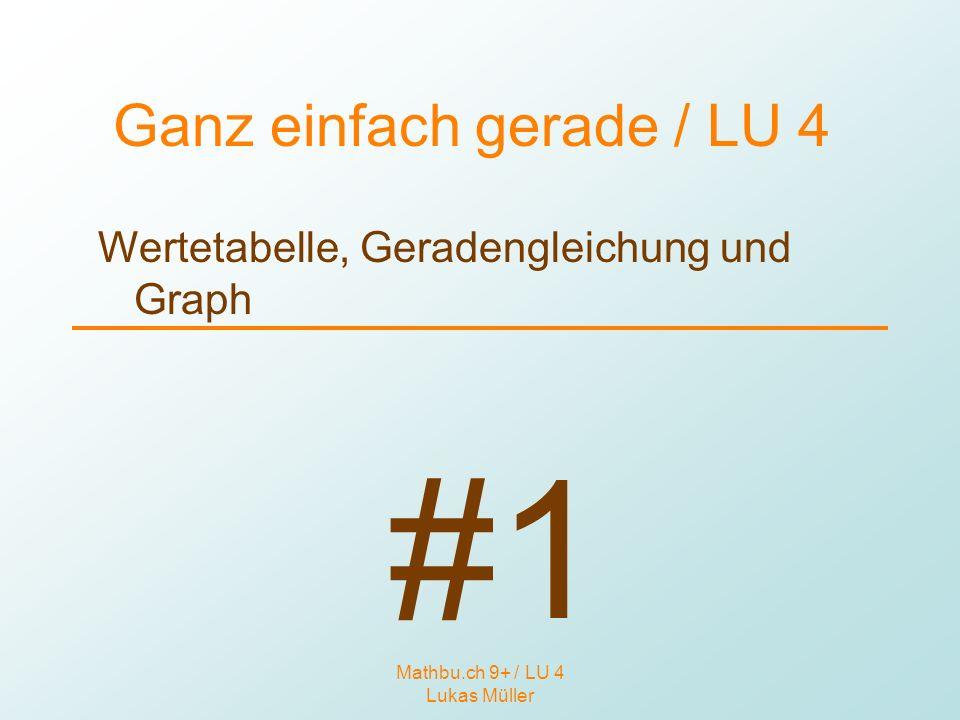Mathbu.ch 9+ / LU 4 Lukas Müller Ganz einfach gerade / LU 4 Wertetabelle, Geradengleichung und Graph #1