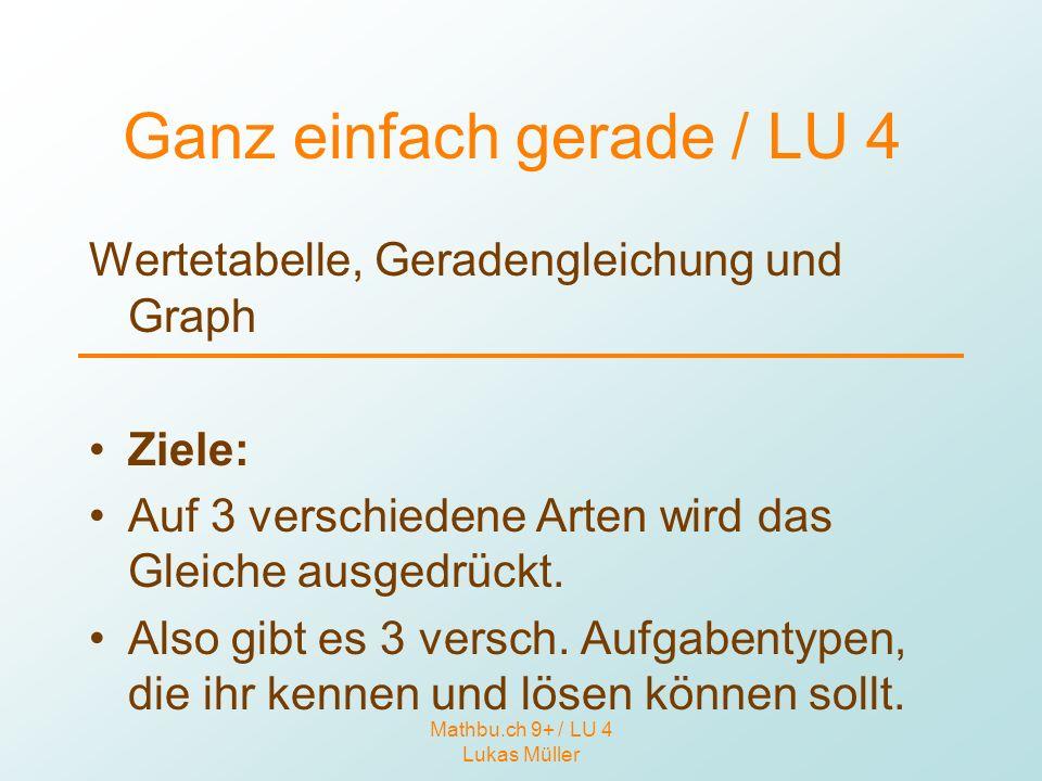 Mathbu.ch 9+ / LU 4 Lukas Müller Ganz einfach gerade / LU 4 Wertetabelle, Geradengleichung und Graph Ziele: Auf 3 verschiedene Arten wird das Gleiche