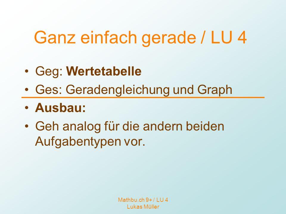Mathbu.ch 9+ / LU 4 Lukas Müller Ganz einfach gerade / LU 4 Geg: Wertetabelle Ges: Geradengleichung und Graph Ausbau: Geh analog für die andern beiden