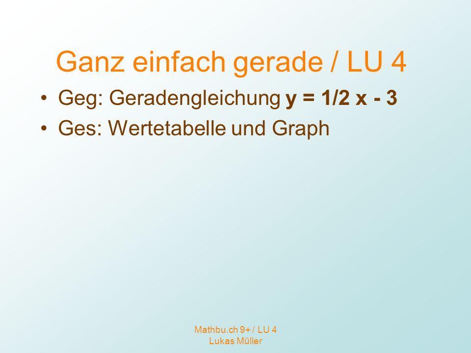 Mathbu.ch 9+ / LU 4 Lukas Müller Ganz einfach gerade / LU 4 Geg: Geradengleichung y = 1/2 x - 3 Ges: Wertetabelle und Graph